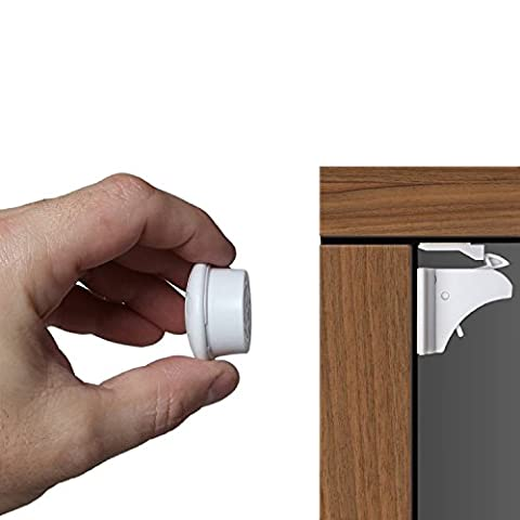 astronia Baby Safety Magnetic Cabinet Locks - No Tools Or Screws Needed, No Damage to your Furniture, (apply to your cabinets /cupboard/ drawers) 4 Locks + 1