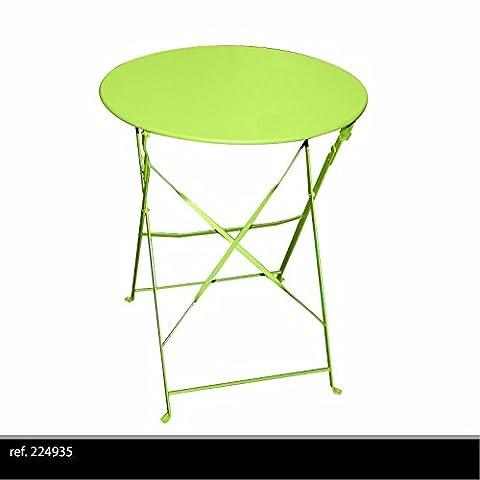 TABLE RONDE DE JARDIN EN METAL BISTRO CAFE SALON PLIANTE VERTE PLIABLE EXTERIEUR