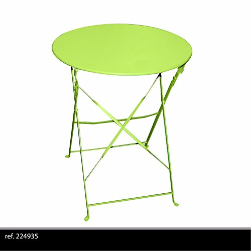 TABLE RONDE DE JARDIN EN METAL BISTRO CAFE SALON PLIANTE VERTE PLIABLE EXTERIEUR