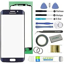 ACENIX® extérieure avant de remplacement lentille en verre kit de réparation pour Samsung Galaxy S6edge Plus Noir saphir + 2mm bande et ouverture Pry outils