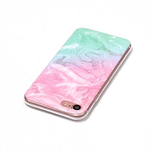 Fubaobao, custodia con design marmo per Huawei P8Lite, materiale poliuretano termoplastico con protezione ultrasottile su tutto il perimetro, verde chiaro F16