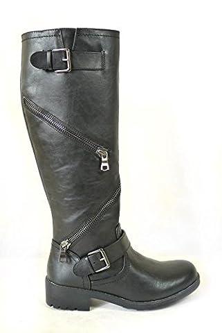 ladies womens black biker zip buckle knee length low block heel boots (UK5, Black)