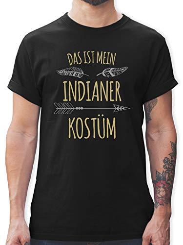 Karneval & Fasching - Das ist Mein Indianer Kostüm - L - Schwarz - L190 - Herren T-Shirt und Männer - Kostüm Für Indianer
