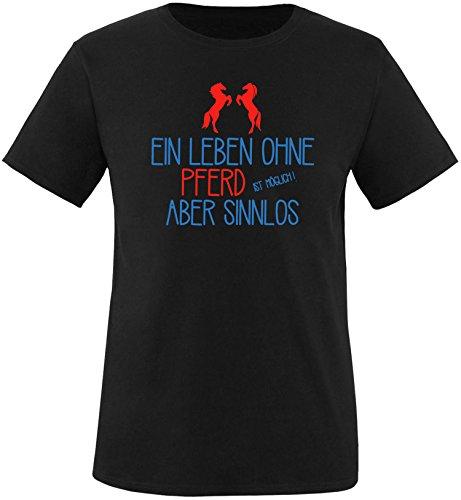 EZYshirt® Ein Leben ohne Pferd ist möglich ! Aber sinnlos Herren Rundhals T-Shirt Schwarz/ Blau/ Rot