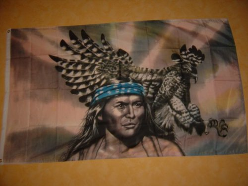 Fahnen Flaggen INDIANER MIT ADLER 150 x 90 cm Fahne Flagge