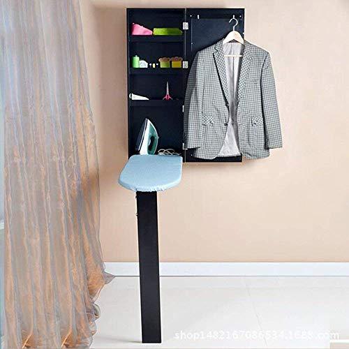 DEED Kleine Tabelle Haushalt Schwarz Multifunktions Wandspiegel mit Lagerung Bügelschrank Klappbügelbrett Einfache Moderne Schlafzimmer Einfache Studie Tabelle -