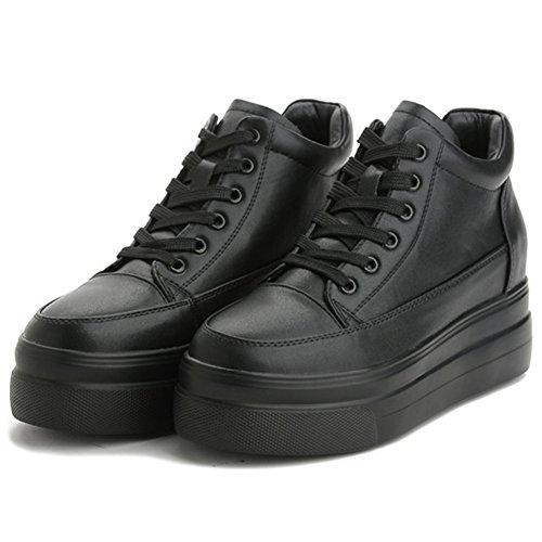 wealsex Basket Cuir Compensée Intérieur Plateforme Semelle Epaisse Sneakers Basses Chaussure Confort Casuel Femme Noir