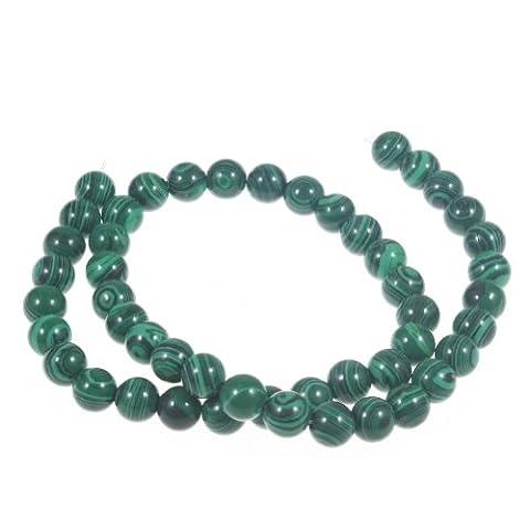 Forever Yung Malachite Vert foncé 8mm ronde perles pour bracelet (environ 50)