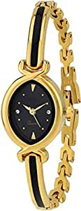 Cloudwood Analogue Dial Black & Gold Luxury Women's Bangle Watch-W145