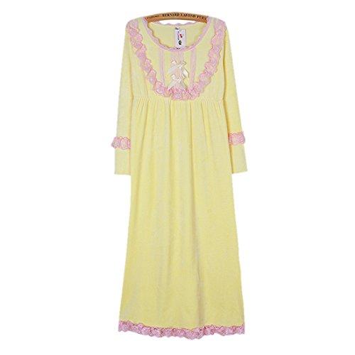 GWELL SuperWeich Flanell Nachthemd Spitze Damen Pyjama Langarm Sleepshirt Nachtkleid Winter Herbst grau rosa Gelb