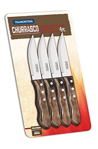 Tramontina Jumbo Steakmesser-Set 4-teilig, Tramontina 29899/151 Jumbo Steakmesser-Set 4-teilig mit braunem Griff, Steakmesser aus Edelstahl mit Griff aus Polywood