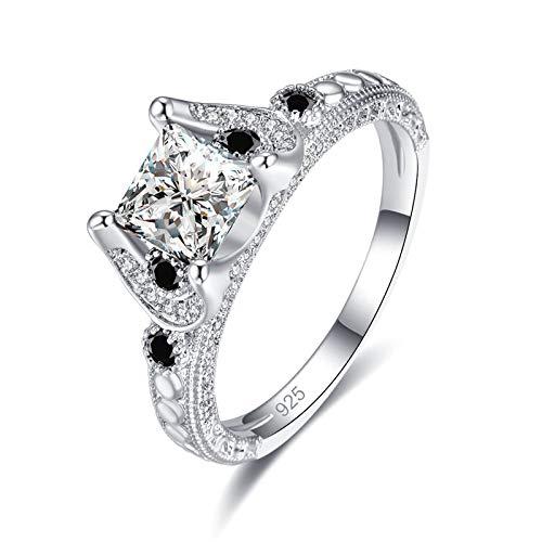 QiXuan Hochzeit Amethyst & White Topaz Princess Cut 925 Silber Ring Edelsteine   Schmuck - Amethyst Teardrop Ringe