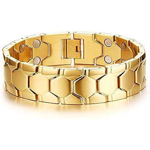 Vnox 18 millimetri in acciaio inox Linea Bio guarigione terapia magnetica Chunky Wristband di Uomini,colore dell'oro,21 centimetri di lunghezza