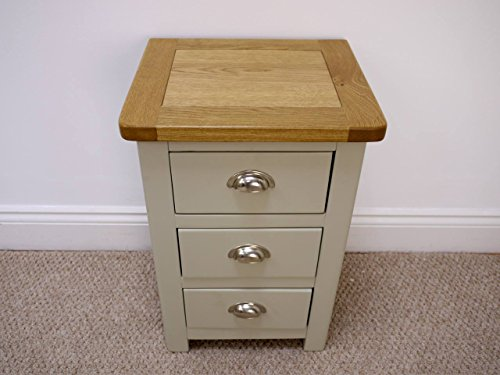 Aspen Painted Oak Sage Grey 3 Drawer Bedside Table / Chest ...