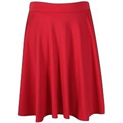 08119d221f0 Flared skirt. Womens Plain Soft Stretch Ladies Elasticated Waistband Knee  Length Full Fla Swing Skater Midi Skirt