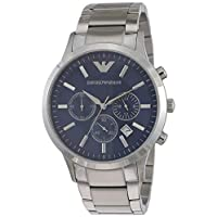 Emporio Armani Men's Blue Dial Stainless Steel Band Watch - AR2448