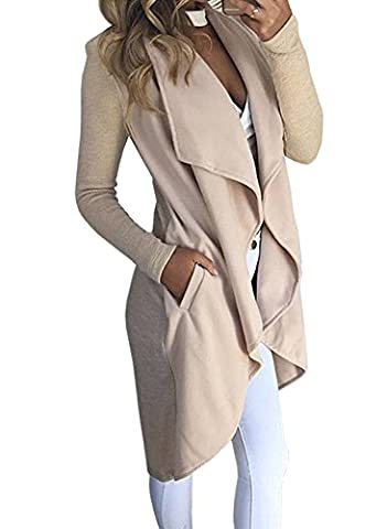 ShallGood Women Solid Colour Casual Asymmetric Baggy Waterfall Collar Long Sleeve Tunic Tops Cardigan Trench Coat Jacket Beige UK