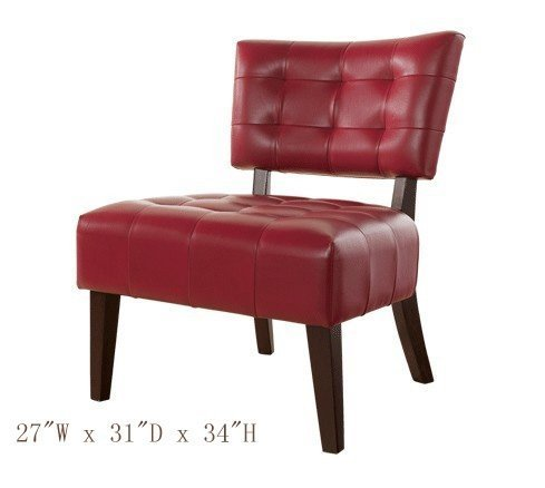 Accent Chair with Oversized Seating in Red Blended Leather by Furnituremaxx