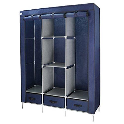 Finether Stoffschrank Kleiderschrank Stoff , Garderobenschrank Faltschrank Stoffkleiderschrank , Blau , 130x45x180 cm