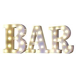 Mystery&Melody LED BAR Alphabet Licht Brief Dekorative Lampe Licht LED Alphabet Weiß Feste Buchstaben für Party Hochzeit Dekoration Licht (BAR)