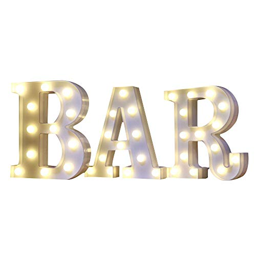 Mystery&Melody LED BAR letra decorativa lámpara luz LED alfabeto blanco sólido letras para fiesta boda decoración luz (BAR)