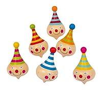 Kreisel Clown im 6er Set, aus Massivholz mit farbenfrohem Clownsgesicht, tolles Gastgeschenk an Kindergeburtstagen
