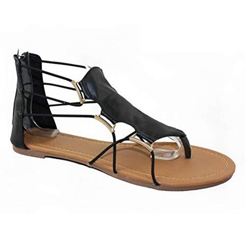 Frauen Flip Flops Gladiador Sandalen Sommer ZurüCk ReißVerschluss Linie Verbindung Leder Bandage Flache Strand Hausschuhe Rom Schuhe - Jeans 10 Unter Süße Dollar