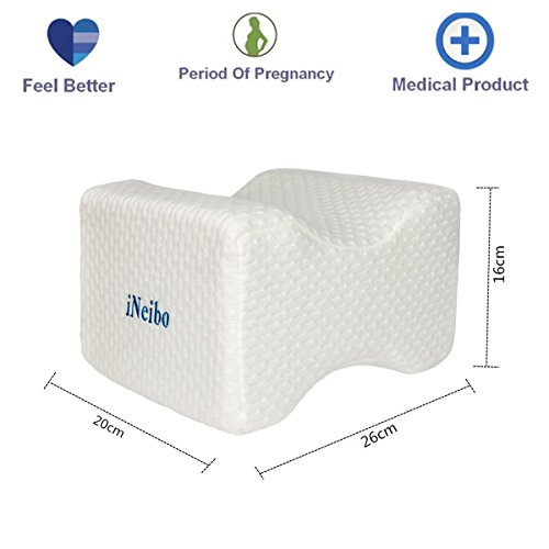 iNeibo Pain Relief Knee Leg Rest Pillow High Density Memory Foam Breathable Bamboo Fiber Hidden Zipper Washable Cover for Chronic Hip Joint Back Nerve Sciatica Pregnancy-Improve Sleeping