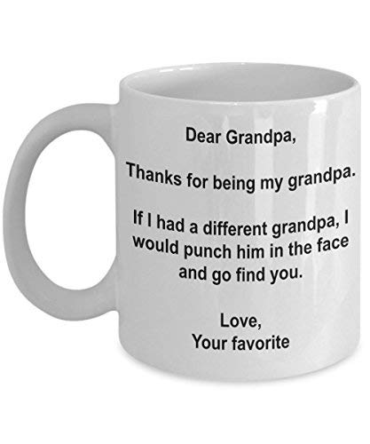 "Lustige Tasse mit Aufschrift ""I'd Punch Another Grandpa In The Face"" 11oz weiß"