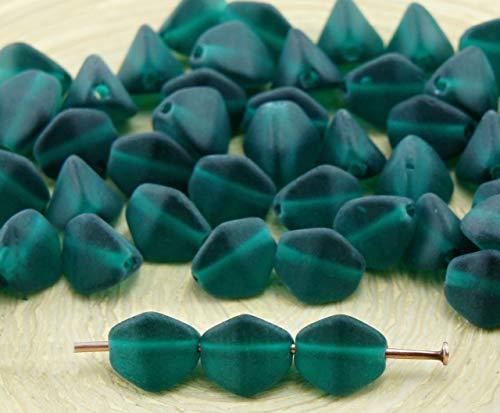 50 Stück Matte Crystal Emerald Green Frosted Großen Prise Bicone Facettierten Tschechische Glas Perlen Spacer 7mm