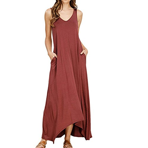 WWricotta Womens Off Shoulder Cocktail Party Beach Pure Color Pocket Vest Long Maxi Dress(rot,M)