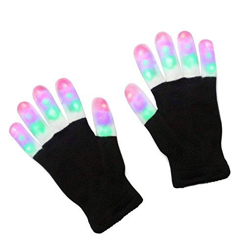 (BOEHNER LED Bunte Beleuchtung Handschuhe, Flashing Finger Spielzeug mit Lichtern, Rave Handschuhe, Bunte Handschuhe, Lichtshow von TRITECHNOX (schwarz - Lighting Fingers))