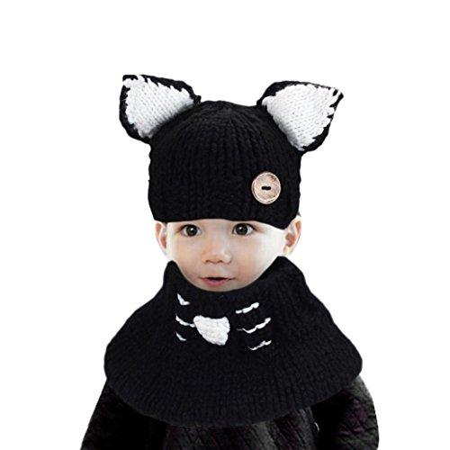 Hüte & Mützen für Baby-Mädchen, Oyedens Winter Wolle gestrickte Katze kappen Babyschals Kapuzenhaube Beaniekappen