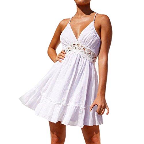 Preisvergleich Produktbild Mallorma® Frauen Sommer Sleeveless Spitze Abend Partei Kurzschluss Kleider Halterkleid (M,  weiß)