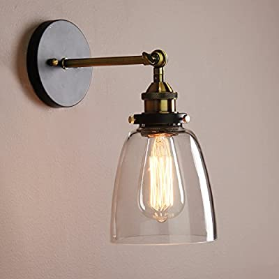 Buyee® Modern Vintage Industrial Edison Wall Sconce Clear Glass Shade Light Fixture - inexpensive UK wall light shop.