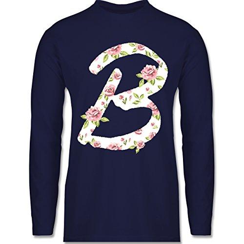 Shirtracer Anfangsbuchstaben - B Rosen - Herren Langarmshirt Navy Blau