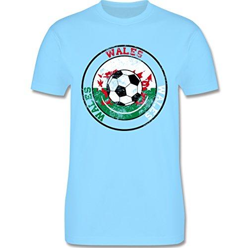 EM 2016 - Frankreich - Wales Kreis & Fußball Vintage - Herren Premium T-Shirt Hellblau