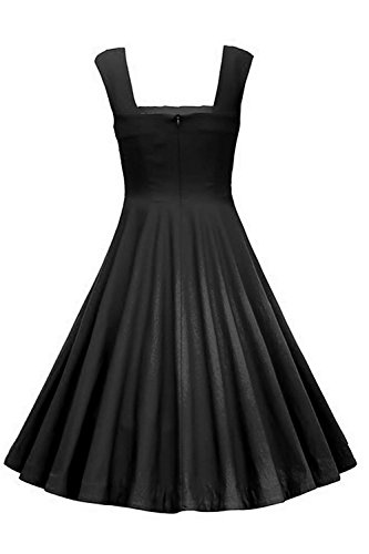 Babyonlinedress Robe de soirée/Bal/Cocktail Courte Rétro Vintage Impression Fleur année 1950 Bretelles, Style Audrey Hepburn Rockabilly Swing Noir