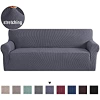 H.Versailtex Non Slip Elastic Sofa Solid Cover Anti-Mite Protector Couch Cover Armchair Slipcover Home Decor Stretch Sofa Cover Removable (Three Seater, Grey)