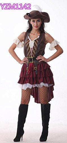 Gorgeous Die neue Piratin Tragen Vintage Federkleid Cosplay Kostüme , #1 (Tragen Uniform)