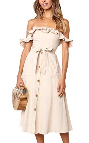 6cc0edf687fce9 Angashion Damen Sommerkleid Ärmellos Schulterfrei MidiKleider Blumenkleid  mit Tasche