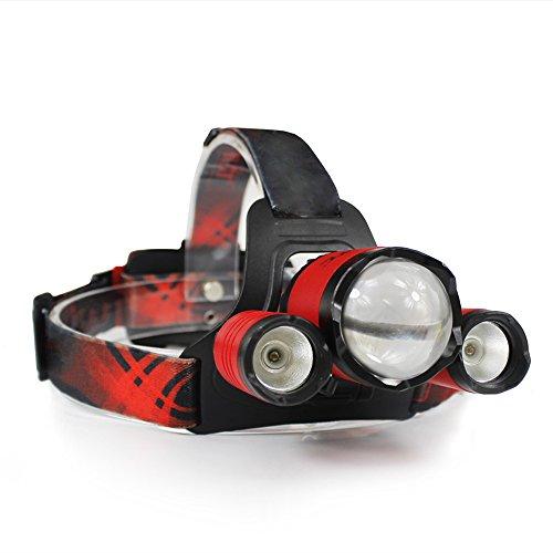 YEXIN LED Stirnlampe USB wiederaufladbar, 4 Modi 5000 Lumen Stirnlampe, IPX6 wasserdicht für Outdoor Camping Wandern Radfahren (Farbe : Rot)