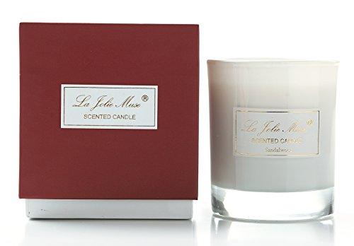 Duftkerze im Glas Sandelholz Rot Geschenkbox Sojawachs Kerzen Windlichter 230g 45Std (Sandelholz-kerzen)