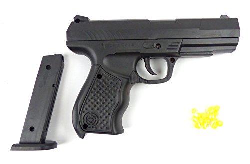 Spielzeug-Pistole Softair-Waffe Toy-Gun RP9B schwarz Federdruck 0,2J Weapon im Set mit - Spielzeugpistolen