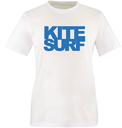 EZYshirt® Kitesurf Herren Rundhals T-Shirt Weiss/Blau