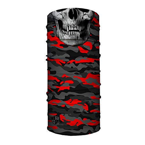 SA Company Fire - Bufanda de Camuflaje Militar roja con diseño de Calavera, Bandana y Balaclava Pañuelo/Bufanda Multifuncional. SPF 40. Máscara de Actividades al Aire Libre