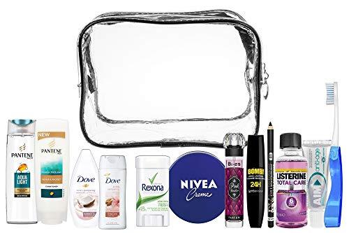 Urlaub Mascara (A2S Women13pcs Convenience Reiseutensilien-Kit, Reiseset für Handgepäck, Urlaubs- und Geschäftsreisen, bestehend aus Allen erforderlichen Körperpflege, in einem PVC-Kosmetikkoffer.)