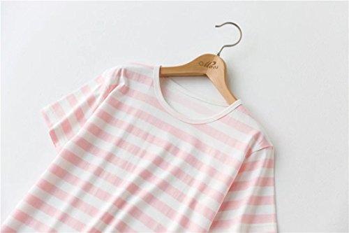Backbuy Femme Manche courte Coton Rayé La robe du soir Vêtements de nuit pour femme Confortable Chemise de nuit Rose