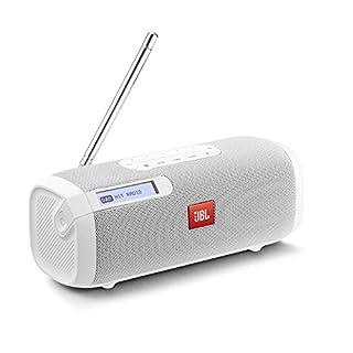 JBL Tuner Radiorekorder in Weiß – Tragbarer Bluetooth Lautsprecher mit DAB+ & UKW Radio – MP3 fähige Musikbox – Bis zu 8 Stunden kabellos Digitalradio genießen