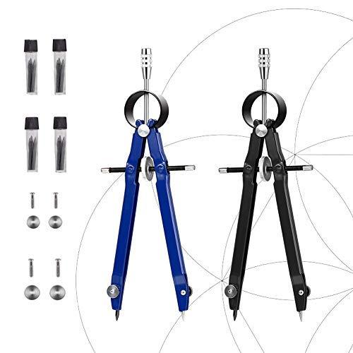 Evneed 2pezzi professionale metallo bussola con serratura, 25,4cm di diametro, compasso con ruota per math, disegno, disegno tecnico include extra hb-ricarica